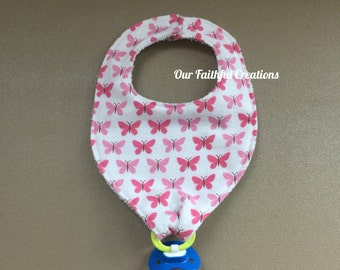Butterfly Pacifier Bib, Pink Butterfly Bib, Binky Bib, Girl Bib, Pacifier Holder, Pacifier Clip, Drool Bib