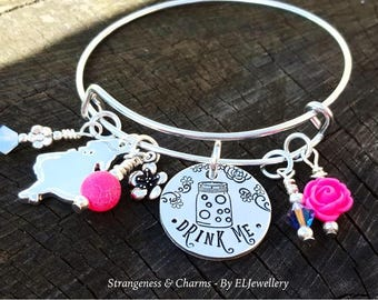 Hand Stamped 'Drink Me' Alice in Wonderland Bangle,Adjustable Aluminium Bangle,Charm Bangle,Bracelet,Wonderland,Alice in Wonderland Jewelry.