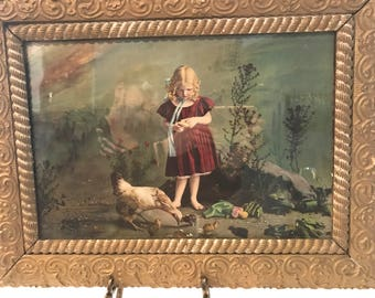 Vibrantly Colored Victorian Print of a Young Girl Feeding Her Chicken with a Fabulous Frame