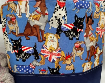 Jumbo Sweater or Blanket Size Zipper Wedge Bottom Project Bag, WIP Bag, Red White Blue Dogs, Ready To Ship, Cozy Memory / Minis bag