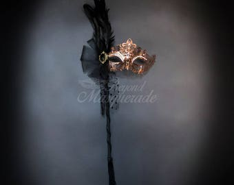 Rose Gold Goddess Filigree Metal Masquerade Mask with Handheld Stick - Soft Feather Adornments