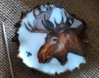 """Bull Moose Belt Buckle 3"""" wide original oil painting, on genuine Moose antler rosette"""