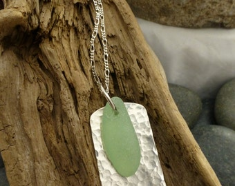 Large light green Sea glass with hammered silver necklace