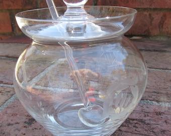 Jam Pot - Jam Jar - Jelly Jar - Glass - Lid and Spoon - Vintage