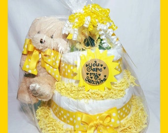 You are my Sunshine 2 tier Diaper Cake