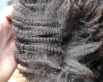 First shearing=charcoal baby alpaca fleece