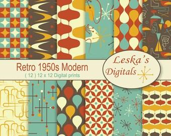 Retro Digital Paper, 1950u0027s Mid Century Modern, 50s Patterns, Digital  Scrapbook Paper,