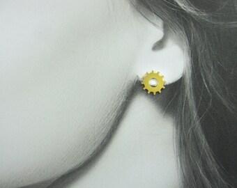 Everyday Earrings, Delicate Earrings, Steampunk Earrings, Gold Steampunk Jewelry, Small Gold Earrings, Elegant Earrings, Small Posts