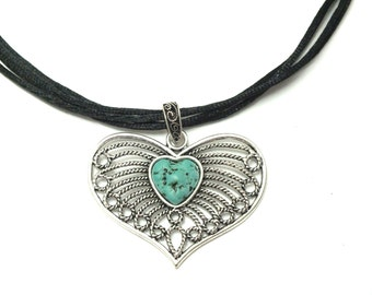 Valentines Necklace, Heart Turquoise Necklace, Black Silk Cord Necklace, Heart Pendant Necklace, Filigree Necklace, Turquoise Boho Necklace.