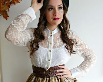 Lace blouse, High-Collar Blouse, White lace blouse, Steampunk Wedding, Steampunk Blouse, Steampunk Costume, Long Sleeve Blouse, Lace Top