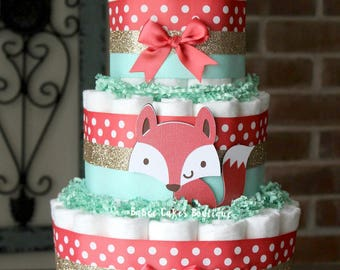 3 Tier Coral Mint And Gold Fox Diaper Cake, Baby Girl Fox Baby Shower,