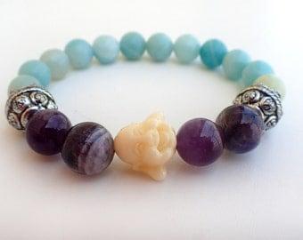 Amazonite Amethyst bracelet, Buddha bracelet. Balancing healing bracelet. Calming bracelet, meditation bracelet Spiritual jewelry