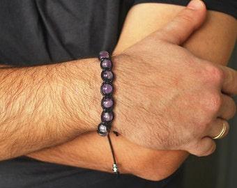 Amethyst Bracelet , Mens bracelet , Amethyst Men, Healing bracelet men. Beaded Bracelet men , Boyfriend gift , Gift for him