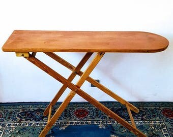 antique ironing board, large rustic wood ironing stand Folds Up Folk Art.  display table