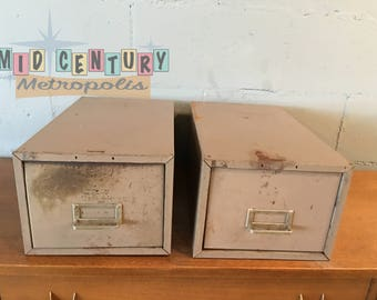 Vintage Industrial Card Cabinet Drawers, set of 2.