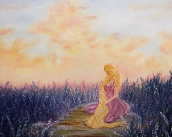 "Original ""Everything Looks Different"" Rapunzel Oil Painting"