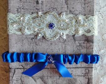 Royal Blue Wedding Garter Set, Wedding Dress, Lace and Satin Bridal Garter, Something Blue Garter, Rhinestone Garter, Wedding Garder
