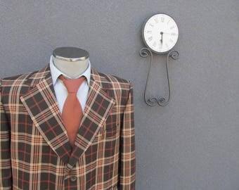 1970s Plaid Jacket with Wide Lapels / 70s VIntage Plaid Blazer Size 42R / 42 Large Lrg L / Disco Era / Vtg Mens Jacket / Classic / Retro