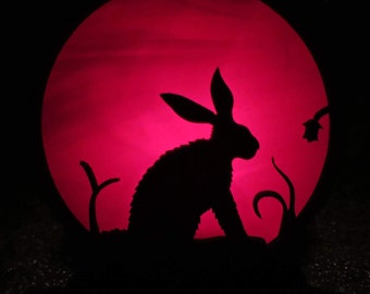 Magical Hare stained glass tealight
