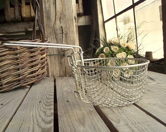 Vintage Fry Basket - French Wire Basket - Metallic Basket - Industrial Kitchen - Retro Kitchen - French Country - Home Cottage Decor