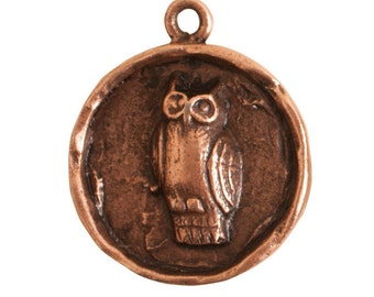 Round Owl Pendant - Antique Copper (plated)
