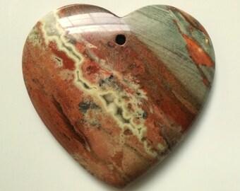Red River Jasper Focal Bead Pendant Heart