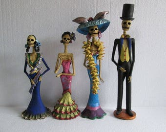 """4 CATRINA SET catrinas day of the dead mexican handmade hand made folk art 13"""""""