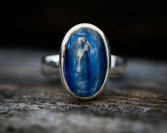 Kyanite Ring Size 7.5 - Kyanite Cabochon Ring - Kyanite Sterling Silver Ring - Kyanite Ring Size 7.5 - Blue Kyanite Ring Kyanite Jewelry