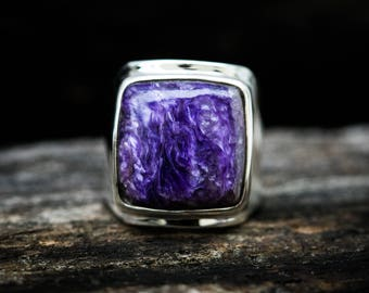 Charoite Ring - Charoite and Sterling Silver Ring size 8 - Siberian Charoite - Genuine Charoite Ring - Sterling Silver and Charoite