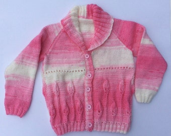 Hand Knitted Children Cardigan, toddler girl, pink, kids knitwear, knitted child sweater, knit gift, children sweater, kids knit clothes