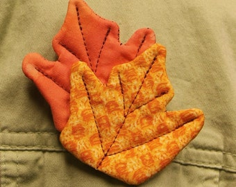 Vibrant Fall Leaves Quilted Brooches