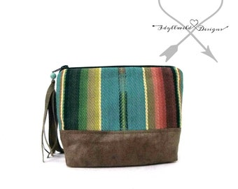 Dayden Zip Pouch in Turquoise Mesa, Coin Purse, Tribal Coin Purse, Boho Coin Pouch