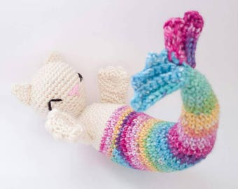 Mermaid Cat doll - meowmaid - Mermaid amigurumi - cat amigurumi - mercat doll - mermaid birthday gift - mermaid tail - merkitten - purrmaid