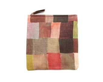 Modern Color Blocked Printed Linen Zippered Pouch with Leather Tassel