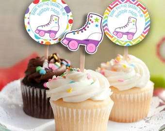 Skating Party Cupcake Toppers, Cupcake Toppers, Skating Party decor, Skating cupcake toppers, SET OF 12, #SP1