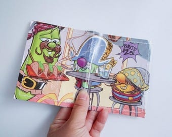 CLEARANCE SALE - Veggie Tales Pirates who don't do anything - children's book 2 pocket wallet Upcycled Laminate Card Holder