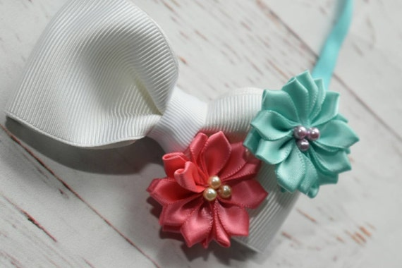 White, mint and coral rosette bow - Baby / Toddler / Girls / Kids Elastic Hairclip / Headband / Hairband/ Hair Barrette