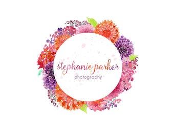 Watercolor Business Logo, watercolor design, photography, watermark, painted, flowers, circle - Newborn photography logo, maternity logo