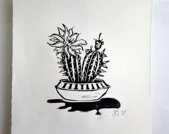 "FREE SHIPPING Worldwide, Original Handmade Linocut Print, 6.5"" x 9"", botanical, cactus, flower, ladybug, wall decor, block print, gift idea"