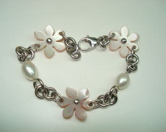 Freshwater Pearl and Pink Mother of Pearl Flower Sterling Silver Link Bracelet