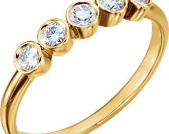 Sapphire 14K Gold Anniversary Band, Bezel Set 5 Stone Ring