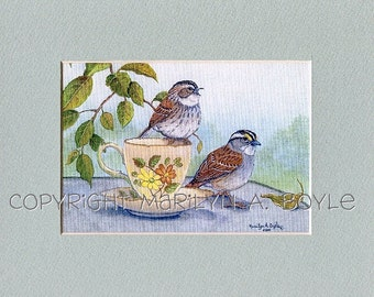 WHITETHROATED SPARROW PRINT: 8 x 10 inch single mat, nature, wildlife, song birds, teacup series,  tea for two,