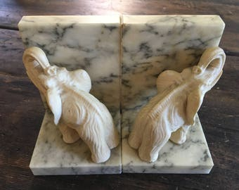 Vintage Hand Carved Alabaster Elephant Bookends / Made in Italy / Library / Bookshelf / Home Decor