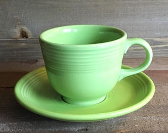 Fiestaware Cup & Saucer (Post-86) - Chartreuse