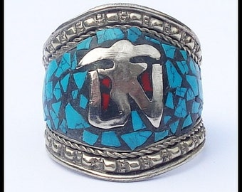 Huge Vintage Sterling Silver Hand Wrought Turquoise and Coral Cuff Ring