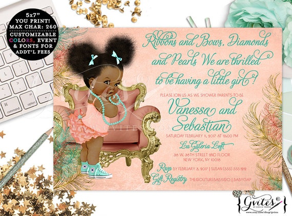 African American coral, mint green and gold invitations, baby girl baby shower, printable ethnic baby invitation, bows diamonds pearls.