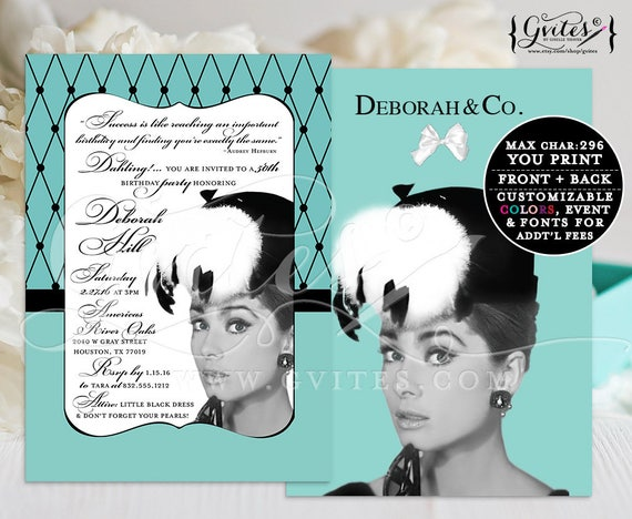 50th Birthday Audrey Hepburn Invitation, Printable breakfast at blue themed and co turquoise parisian, white bow 5x7, double sided.