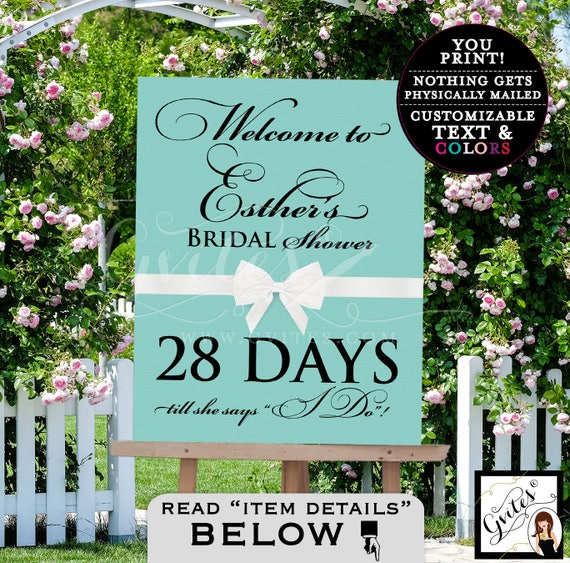 Welcome countdown sign, bridal shower, PRINTABLE wedding breakfast at and co party, poster, signs, entrance decor, digital file.