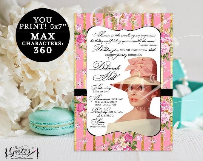 Breakfast at Audrey Hepburn birthday invitation, 30th  40th, 50th party printable, diamonds pearls theme, digital files, 5x7 Digital File
