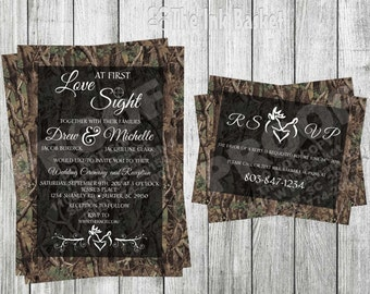 Love At First Sight Wedding Invitation and RSVP Card Set